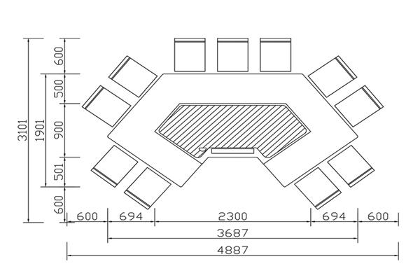 马蹄形铁板烧CAD规格图