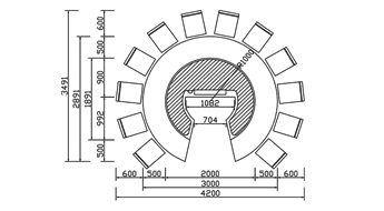 圆形铁板烧CAD规格图