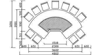 扇形铁板烧CAD规格图